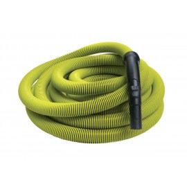 "Hose for Central Vacuum - 50' (15 m) - 1 1/4"" (32 mm) dia - Lime - Black Plastic Curved Handle"