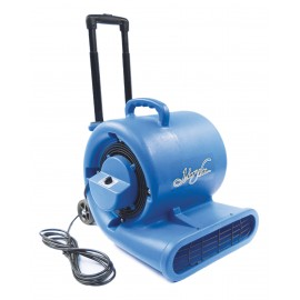 """Ventilateur / souffleur / séchoir de plancher portatif - Johnny Vac - diamètre du ventilateur 9,5"""" (24 cm) - 3 vitesses avec poignée téléscopique et roues - bleu"""