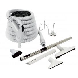 Ensemble pour aspirateur central - boyau 9 m (30') Value Flex - brosse à plancher - brosse à épousseter - brosse pour meubles - outil de coins - manchon télescopique - supports pour boyau et à outils - gris