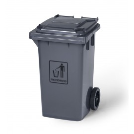 Trash Garbage Can Bin with Lid - with Wheels - 26 gal (100L) - Grey