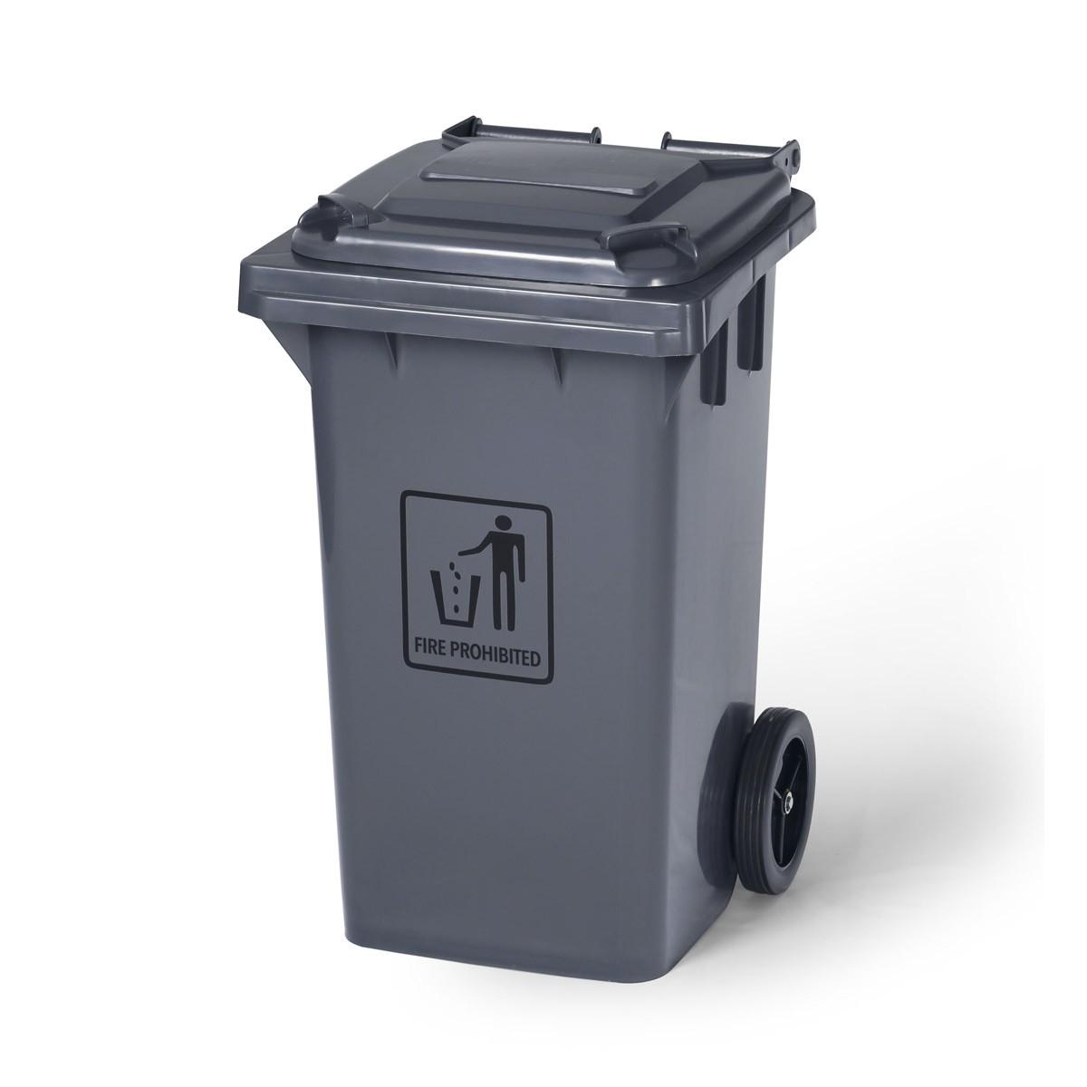 Grey Garbage Bin On Wheels 100 L