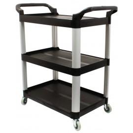 Service / Utility Cart - 3 Shelves - 4 Swivel Casters / Wheels - Black