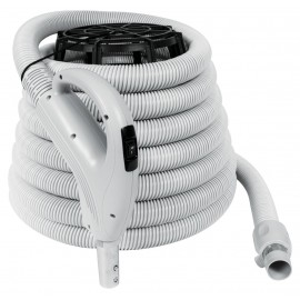 """Boyau pour aspirateur central - 10 m (35') - 35 mm(1 3/8"""") dia - argent - poignée pompe à gaz - bouton marche/arrêt - Value Flex - Plastiflex XV130138035BU"""