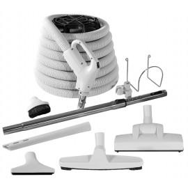 Ensemble pour aspirateur central - boyau 12 m (40') poignée pompe à gaz - balai à air Wessel-Werk - brosse à plancher - brosse à épousseter - brosse pour meubles - outil de coins - manchon télescopique - supports à boyau et outils - gris
