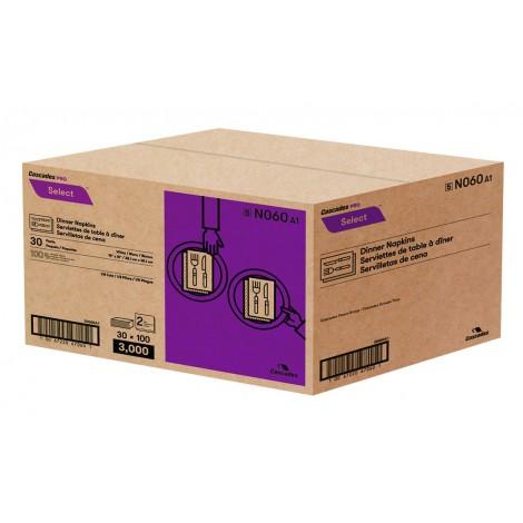 "Dinner Napkins - 2-Ply - 15"" x 15"" (38.1cm x 38.1 cm) - Box of 30 Packs of 100 Napkins - White - Cascades N060"