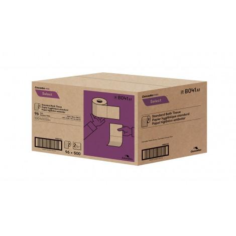 "Standard Bathroom Tissue - 2-Ply - 4.25"" x 3.25"" (10.8 cm x 8.3 cm) - Box of 96 Rolls of 500 Sheets - White - Cascades Pro B041"