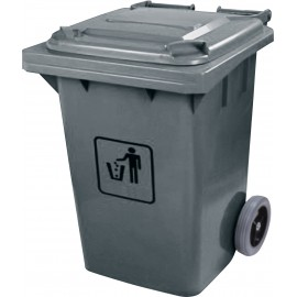 "Trash Garbage Can Bin with Lid - on Wheels - 63.4 gal (240 L) - Grey 29"" X 23"" X 51""H"