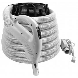 """Boyau électrique pour aspirateur central - 9 m (30') - 32 mm (1 1/4"""") dia - gris - poignée pompe à gaz - bouton marche/arrêt - compatible balai électrique - bouton-barrure - Value Flex - Plastiflex SV130114030BCU"""