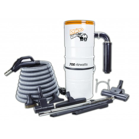 KITRHINOAIRW: Central Vacuum Cleaner Kit: Vacuum Cleaner, Hose, 2 Turbo-air Brushes, Brushes, 2 Crevice Tools, Téléscopic Wand, and Support