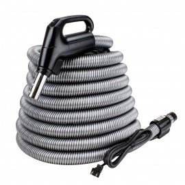 VACUUM ELECTRICAL HOSE FOR CENTRAL VACUUM - 24V 110V 30' - SWIVEL B/L - GAS PUMP - SILVER