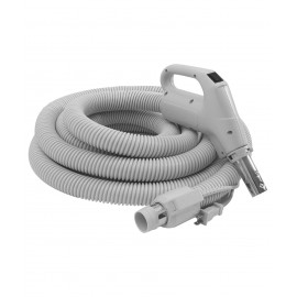 """Boyau électrique pour aspirateur central - 15 m (50') - 32 mm (1 1/4"""") dia - gris - poignée pompe à gaz - bouton marche/arrêt - compatible balai électrique - bouton-barrure - Plastiflex SZ130138050BCUI"""