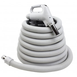 COMPLETE HOSE WITH BUTTON FOR CENTRAL VAC - 24V 1 3/8 X 30' - GAS PUMP - GREY