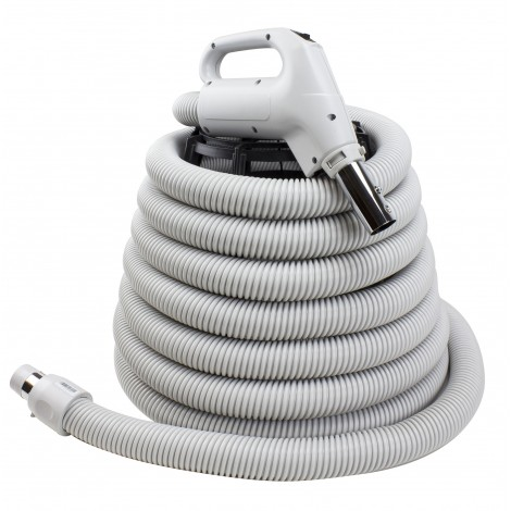 "Hose for Central Vacuum - 30' (9 m) - 1 3/8"" (35 mm) dia - Grey - Gas Pump Handle - On/Off Button - Button Lock - Plastiflex XZ130138030BU3"