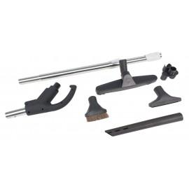 """Ensemble pour aspirateur central - poignée avec union et bouton-barrure Hide-A-Hose - brosse à plancher de 30,5 cm (12"""") - brosse à épousseter et pour meubles - outil de coins - support à outils - manchon télescopique - noir - HHKITEZBK"""