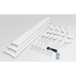 Installation Kit for Central Vacuum - 3 Inlets Valves - 48' Piping - White
