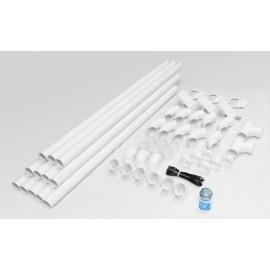 Ensemble d'installation FT3003W48, 3 prises + 48' tuyau - pour aspirateur central - blanc