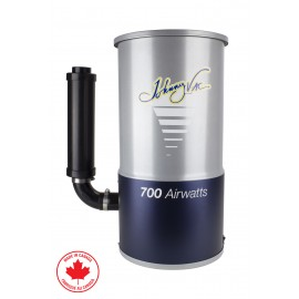 CENTRAL VACUUM JV700C - 700 AIR WATTS Bagged System, Compact, a Flat Lid for Installation in Height, Metal Body, Overload Protection, Muffler, Elbows and Screws, Warranty : 10 Year