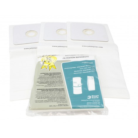 Paper Bag for Central Vacuum Johnny Vac Powerlux and Superlux, Nutone and Hoover - Pack of 3 Bags - Envirocare 505CAJV