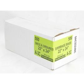"""Sacs à poubelle / ordures commercial - régulier - 22"""" x 24"""" (55,8 cm x 60,9 cm) - clair - boîte de 500"""