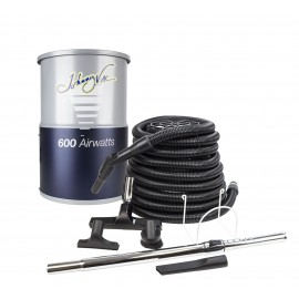 Central Vacuum Johnny Vac - JV600C30 - Silent - Compact - 600 Airwatts - 3 gal (12 L) Tank Capacity - Wall Mount Bracket - HEPA Bag - Foam Filter - 30' (9 m) Hose - Accessories Kit