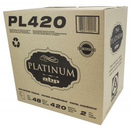 Bathroom Tissue - 2-Ply - Box of 48 Rolls of 420 Sheets - White - Platinum PL420