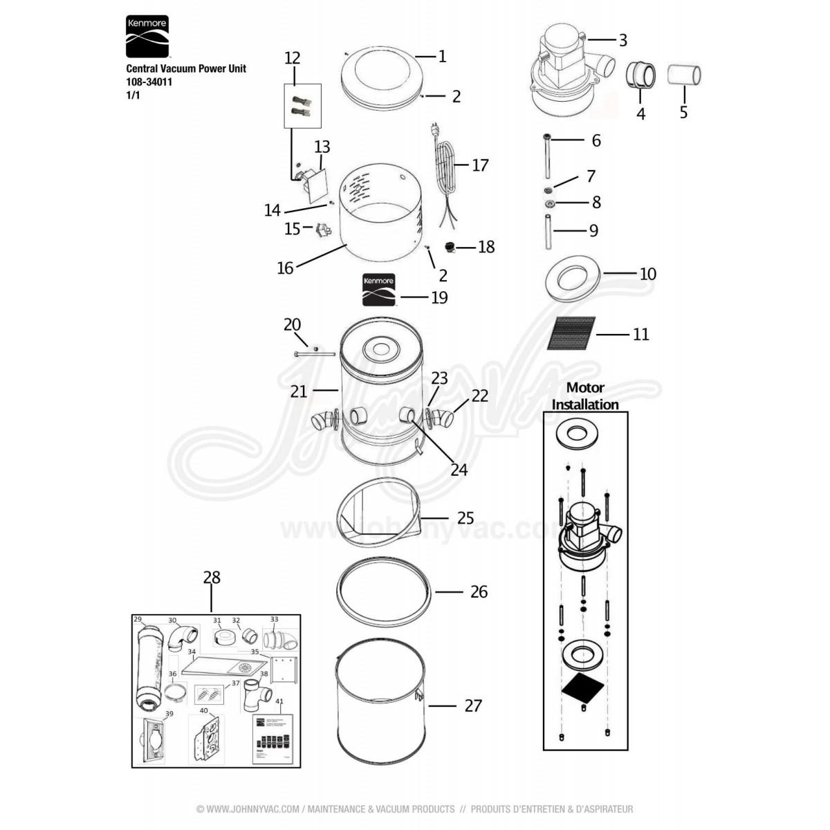 kenmore central vacuum power unit 108