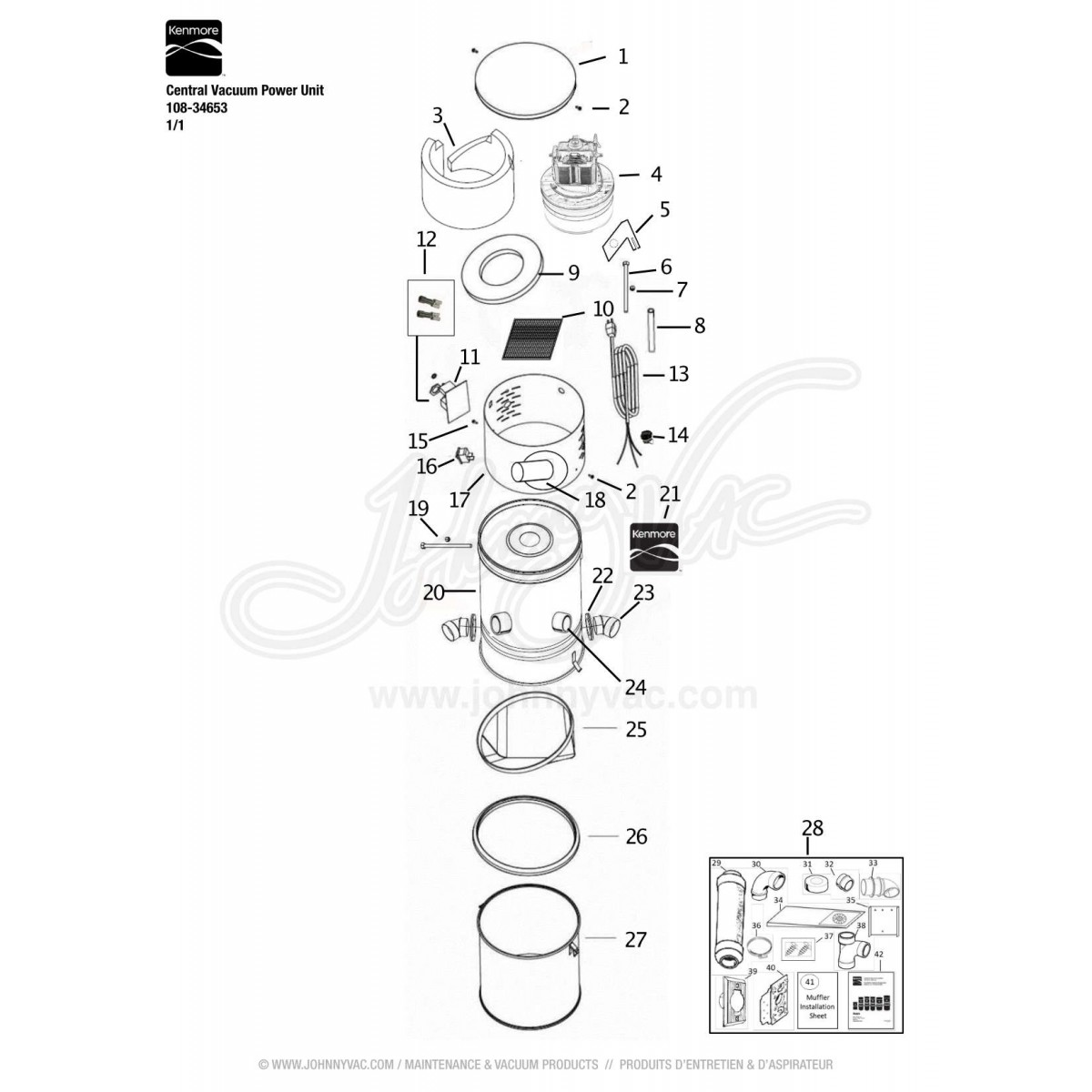 Kenmore Central Vacuum Power Unit 108 34653 Sears Cleaner Wiring Diagram