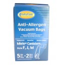 HEPA Microfiltration Bag for Miele Type F, J and M Canister Vacuum - Pack of 5 Bags + 2 Filters - Envirocare C205