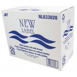 Commercial Jumbo Bathroom Tissue - 2-Ply - Box of 8 Rolls - White - New Label ABP NL833028