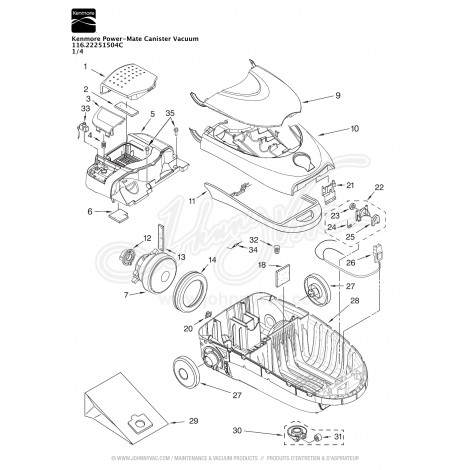 Kenmore Power Mate Canister Vacuum 116 22251504c