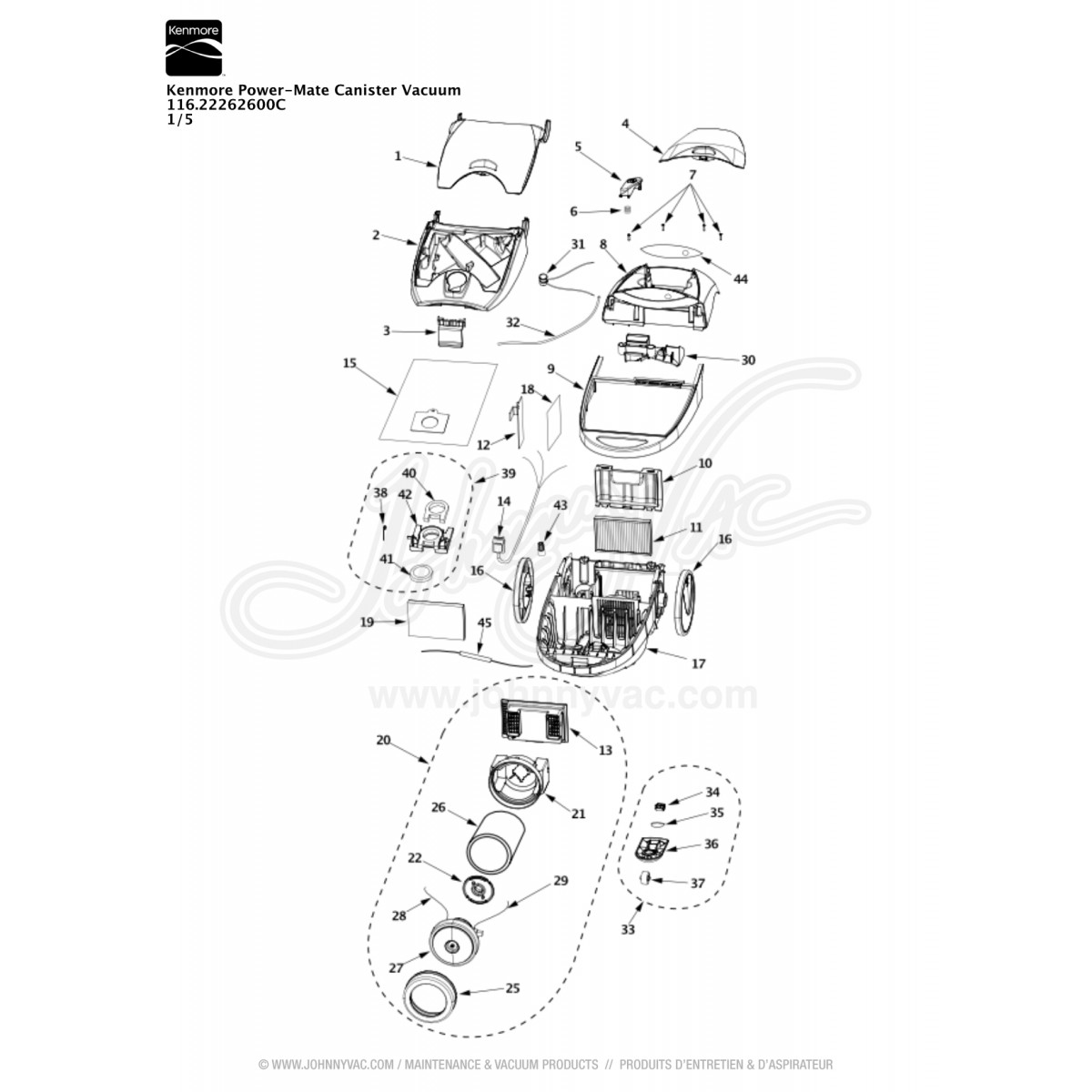 Kenmore Power Mate Canister Vacuum Red Pepper 11622262600c Wiring Diagram