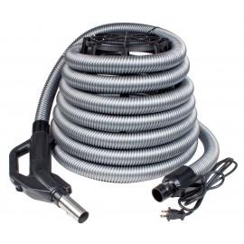 Boyau électrique d'aspirateur central 110 v 30' avec poignée de type pompe à gaz munie d'un interrupteur
