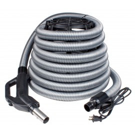 """Electrical Hose for Central Vacuum - 30' (9 m) - 1 3/8"""" (35 mm) dia - Silver - Gas Pump Handle - On/Off Button - Power Nozzle Compatible - Button Lock"""
