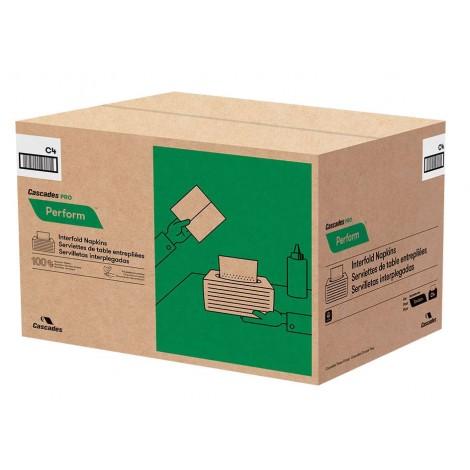 "Interfold Napkins - 1 Ply - 12.6"" x 8.5"" (32.1 cm x 21.6 cm) - Box of 16 Packs of 376 Napkins - Natural - Tandem Cascades Pro T411"