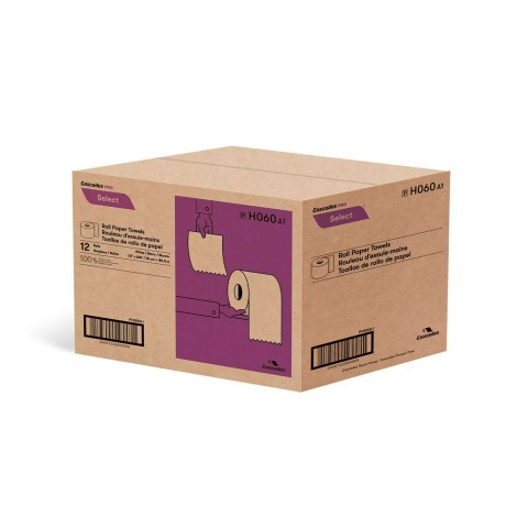 "Paper Hand Towel - 7.8"" (19.8 cm) Width - Roll of 600' (182.9 m) - Box of 12 Rolls - White - Cascades Pro H060"