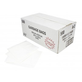 "Commercial Garbage / Trash Bags - Regular - 20"" x 22"" (50.8 cm x 55.8 cm) - White - Box of 500"