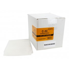 """Sacs à poubelle / ordures commercial - extra robuste - 30"""" x 38"""" (76,2 cm x 96,5 cm) - clair - boîte de 200"""