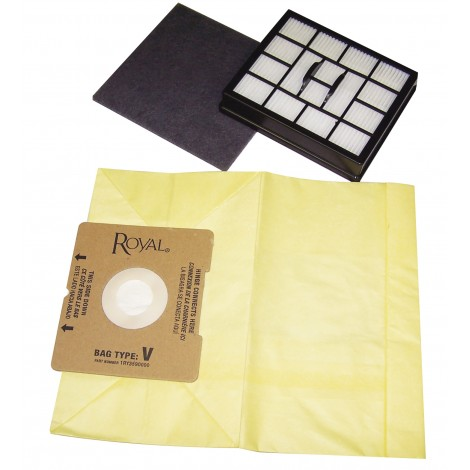 Paper Vacuum Bag for Roval V Type Vacuum - Pack of 7 Bags + 2 Filters - 1RY3590000