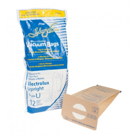Microfilter Vacuum Bag for Electrolux Upright Vacuum - Style U - Pack of 12 Bags - Envirocare 138