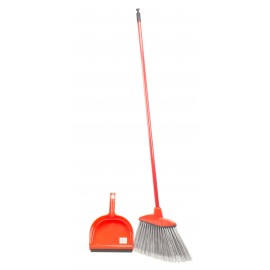 RED ANGLE BROOM WITH FITS ON DUSTPAN