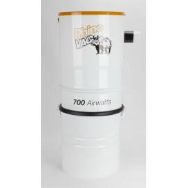 Aspirateur central, RHINOVACW 700 Airwatts blanc avec silencieux extérieur - Démo