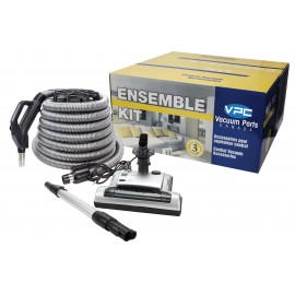 CENTRAL VACUUM KIT WITH SILVER VALUFLEX HOSE AND AIR NOZZLE