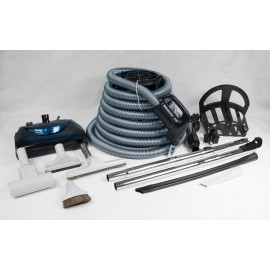 USED: COMPLETE CENTRAL VACUUM KIT WITH ELECTRIC ACCESSORIES, ELECTRIC AND TURBO BRUSH AND 35'