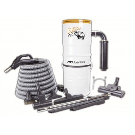 Central Vacuum with Hose, 2 Turbo-air Brushes, Brushes, 2 Crevice Tools, Téléscopic Wands, and Hose support - Refurbished