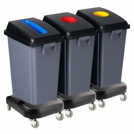 Station de recyclage - 3 poubelles - tri par couleur - capacité de 13,2 gal (60 L) chacune - sur roues - grise