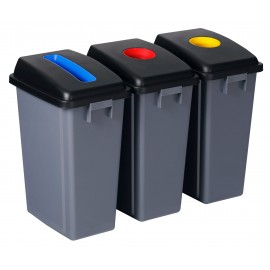 Recycling Station - 3 Bins - Sorting by Color - Capacity of 13.2 gal (60 L) Each - Grey