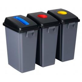 Station de recyclage - 3 poubelles - tri par couleur - capacité de 13,2 gal (60 L) chacune - grise