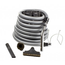 Central Vacuum Kit for Garage - 35' (10 m) Silver Hose - Dusting Brush - Upholstery Brush - Crevice Tool - Metal Hose Hanger - Black