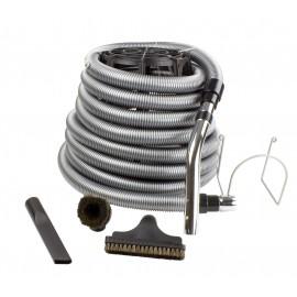"""Ensemble pour aspirateur central de garage - boyau 10 m (35"""") argent - brosse à épousseter - brosse pour meubles - outil de coins - support à boyau en métal - noir"""