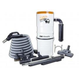 Ensemble aspirateur, boyau, balais à air, brosses, 2 outils de coins, manchons téléscopiques et support - Démo